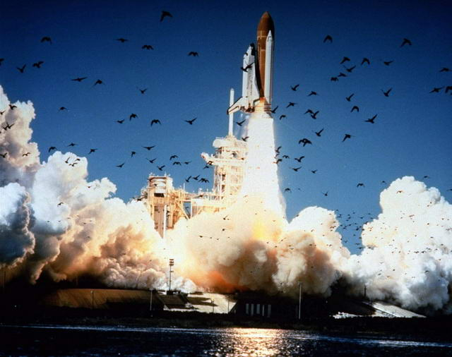Space shuttle challenger before launch